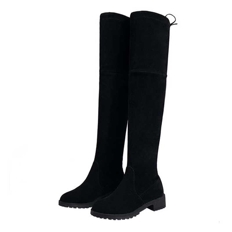 2020 nuevos zapatos de mujer botas negras sobre la rodilla botas sexis de mujer Otoño Invierno muslo alto botas tamaño 35-39