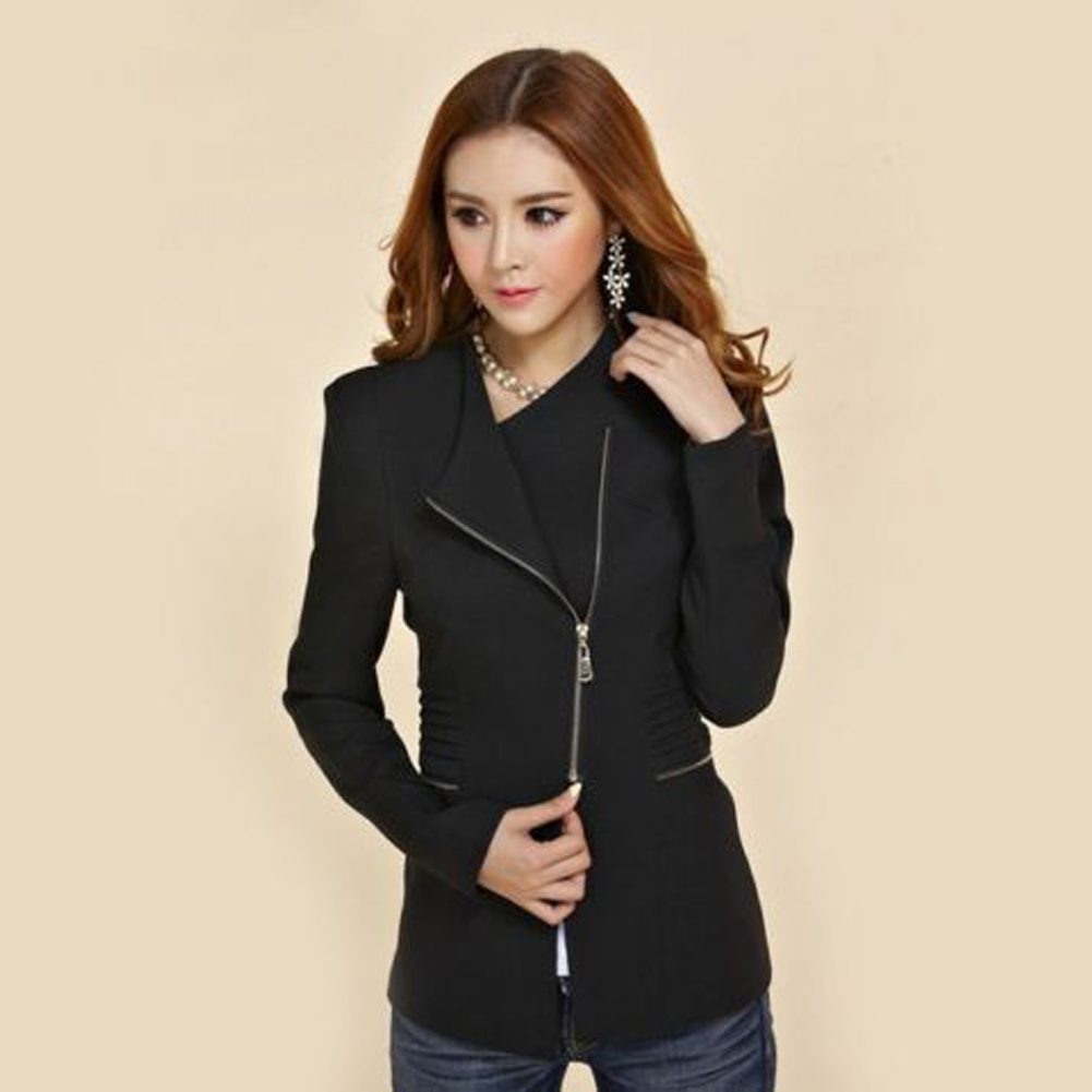 Fashion Women Jacket Long Sleeve Top Office Lady Zipper Blazer Suit Slim Fit Lapel Jacket Tops Coat Polyester Formal Outwear