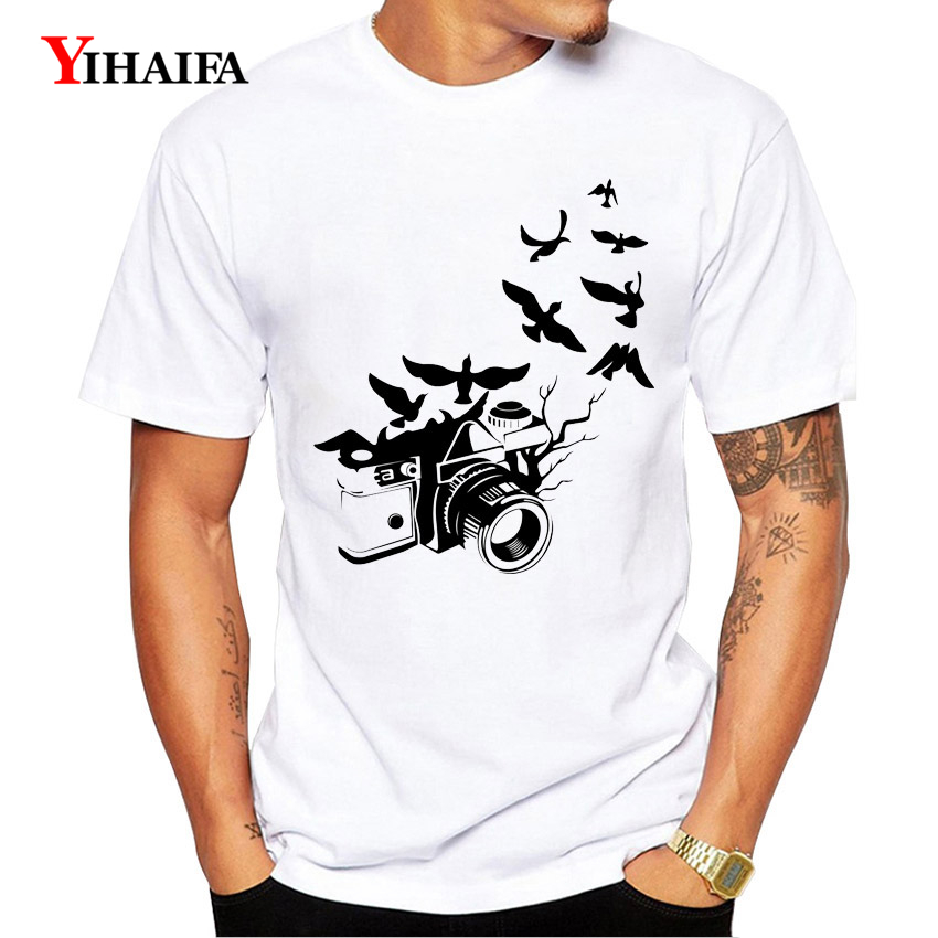 Stylish T-Shirt Mens Males Graphic Tees Camera Bird Roupas Printed Casual Summer Tee Shirts Streetwear Unisex White Tops