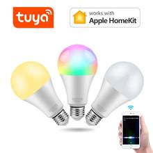 Apple Homekit/TUYA Smart LED lamp WIFI Dimmable discolour Light Bulb 15W E27 Siri Voice Control / alexa google home Smart Home(China)