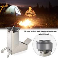 Stainless Steel BBQ Grill Camping Rocket Stove with Handle Camping Survival Gear Self Feeding Wood Outdoor Barbecue Oven