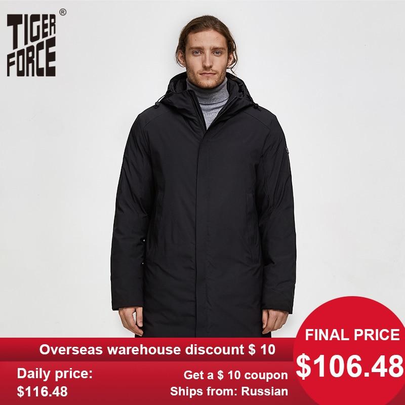 TIGER FORCE Men Autumn Winter Jacket Thicken Warm Long Male Parka Men's Padded Jacket Business Casual Overcoat Hooded Outwear