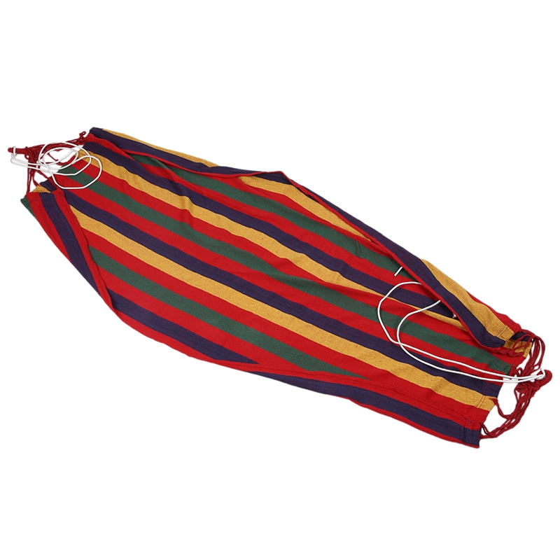 Fashion190cm X 80cm Stripe Hang Bed Canvas Hammock 120kg Strong And Comfortable (Red)