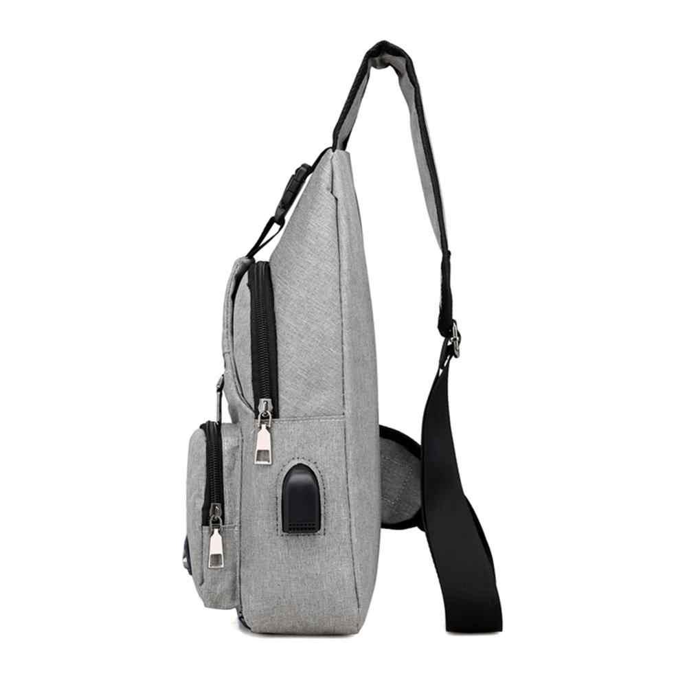 Masculino quente lazer estilingue peito pacote crossbody sacos para homens mensageiro lona de carregamento usb sacos de couro bolsa de ombro