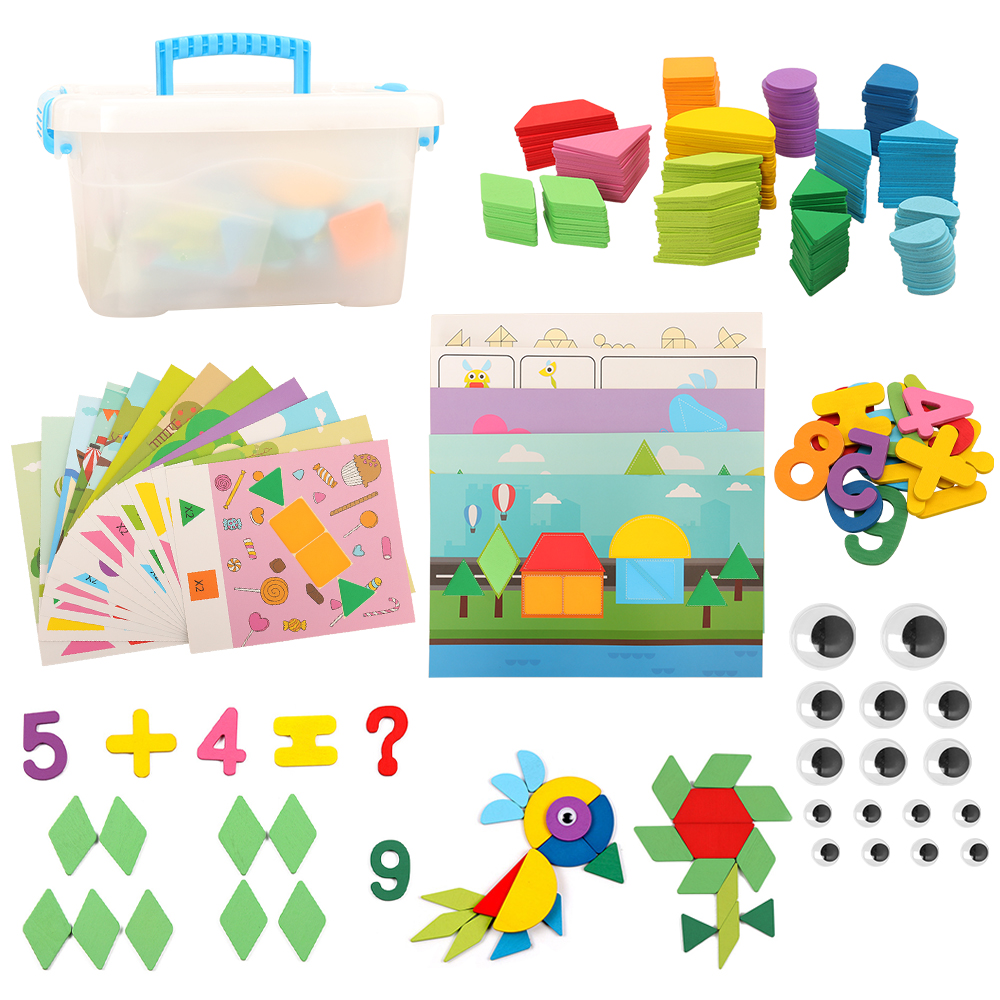 New Creative Kids Educational Kids Toys 250pcs Wooden Pattern Block Set Montessori Developmental Brain Teaser Toy For Children