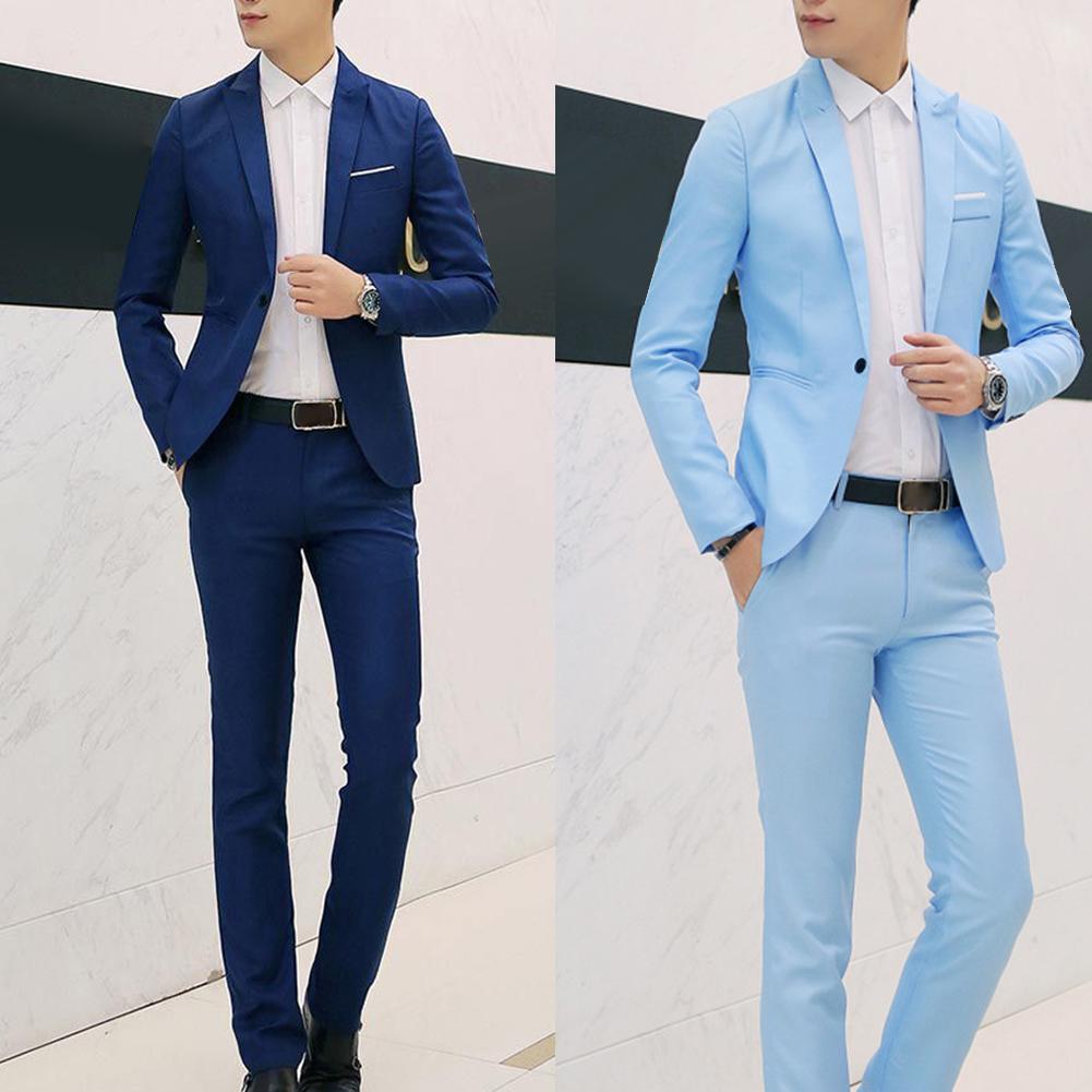 2Pcs Fashion Men Solid Color Lapel Button Long Sleeve Slim Blazer Suit Pants Costume Homme Suit Men Terno Gift For Men