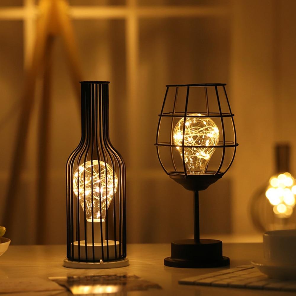 Oco para fora garrafa de vinho forma lâmpada led luz de vidro potável criativo ferro forjado luz da noite lanterna garrafa de vinho tinto lâmpada