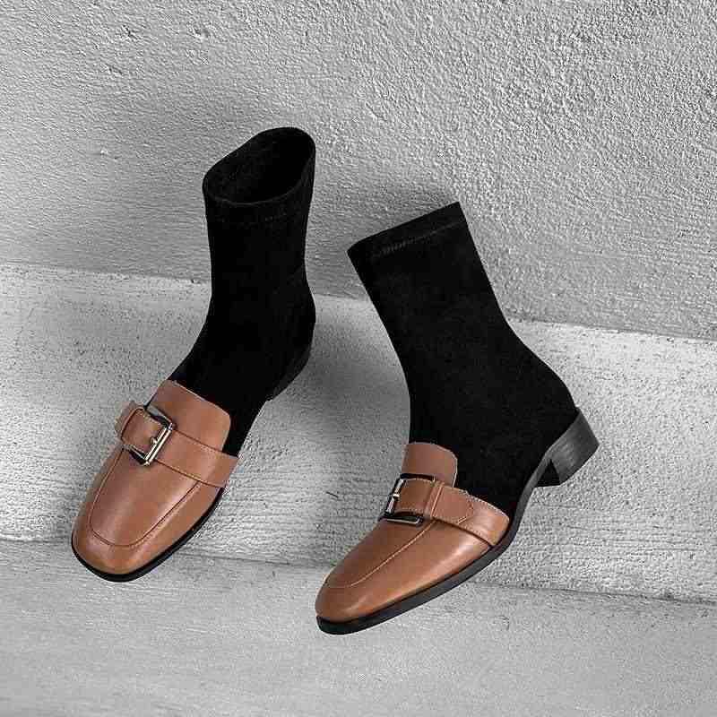 Krazing Pot İngiliz karışık renkler inek deri akın kare ayak med topuklu kemer toka kış sıcak kadınlar eğlence orta buzağı çizmeler L20