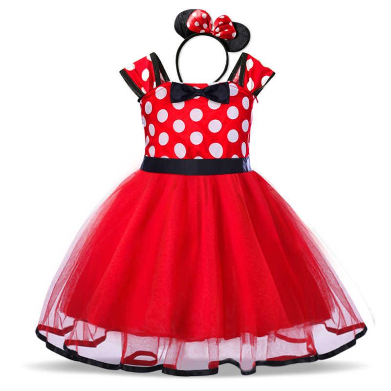 """מפואר 1 שנה יום הולדת מסיבת שמלת עבור ילדה קוספליי מיני מאוס להתלבש יום הולדת ליל כל הקדושים תחפושת נסיכת בגדי עבור 0 -6 י""""ש"""
