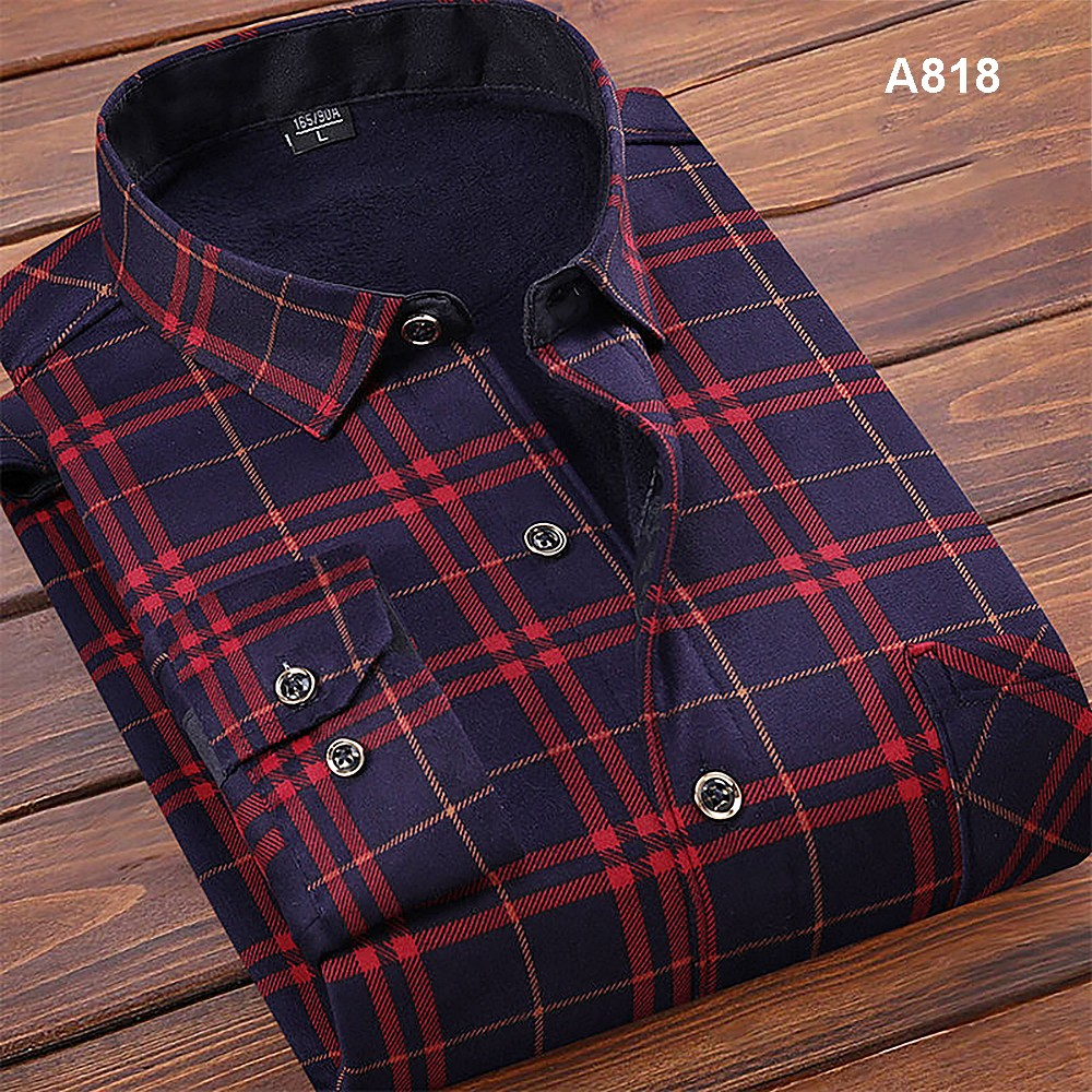 Fashion <font><b>Men's</b></font> <font><b>Winter</b></font> <font><b>Warm</b></font> Plush Slim <font><b>Shirts</b></font> 12 Colors Striped Plaid Print Blouse <font><b>For</b></font> <font><b>Men</b></font> Casual Retro Clothes Size M-3Xl 2019 image