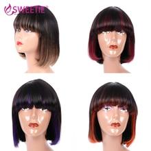 Short Straight Bob Wig With Bangs 1B-27 Bob Human Hair Wig For Women Brazilian Remy Hair Glueless Full Machine Made 1B-Red Bob