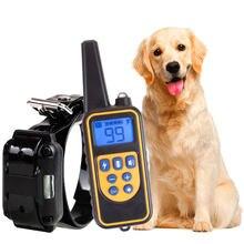 Collar de entrenamiento eléctrico para perros remoto impermeable recargable con pantalla LCD para todos los tamaños golpes vibración sonido 800m