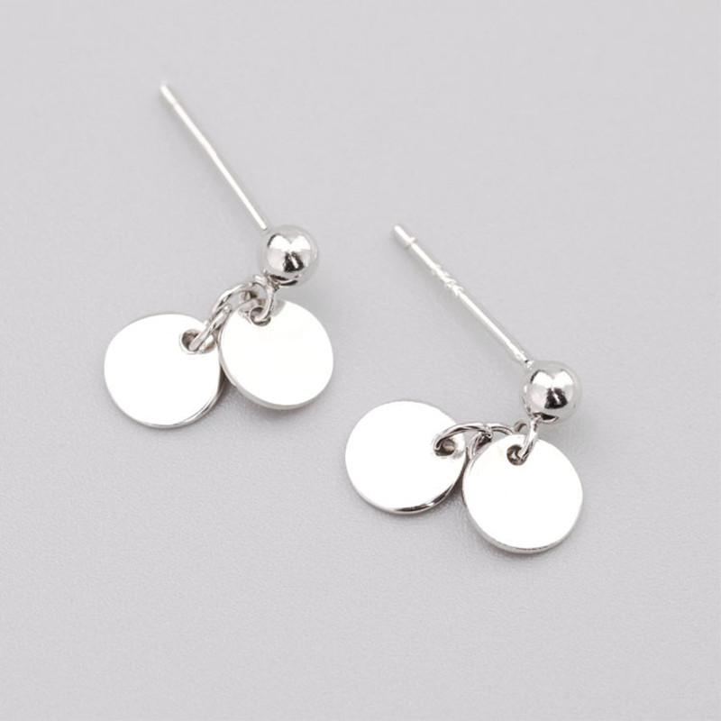 925 Sterling Silver Round Smooth Studs Earrings Minimalist Fashion Fine Jewelry For Women Party Elegant Accessories