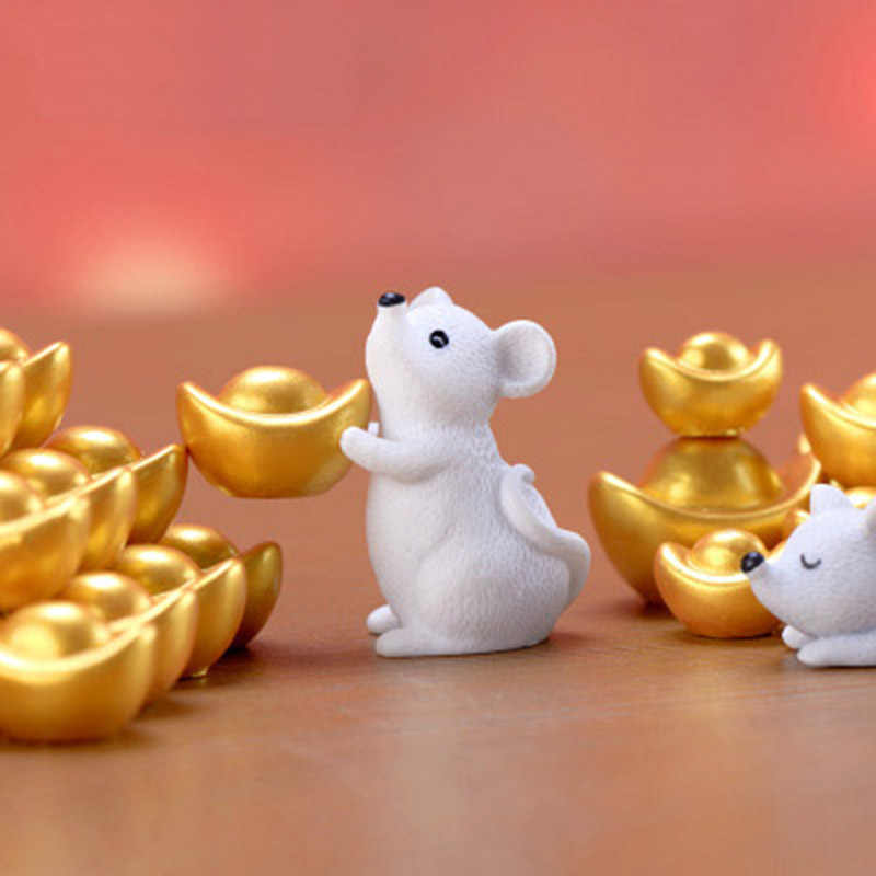 Money Fortune Cartoon Mouse Ornaments Rich Mice Small Statue Little Figurine Desktop Crafts Cute Animal home Decoration 1PC