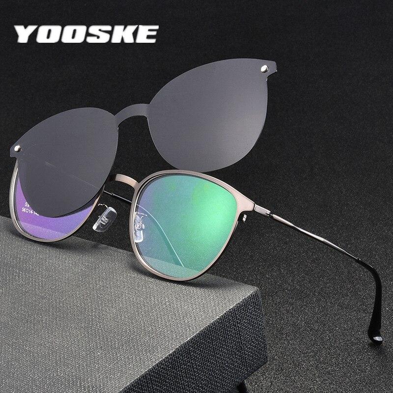 YOOSKE Magnet Sunglasses Men Polarized Clip On Glasses Women Metal Optical Frames Prescription Eyeglasses