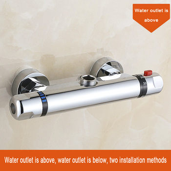 Thermostatic Bath Shower Control Valve Bottom Faucet Wall Mounted Hot And Cold Brass Bathroom Mixer Bathtub Tap antique brass long nose water outlet pipe bathroom faucet bathtub mixer single handle control bath and shower hot cold crane