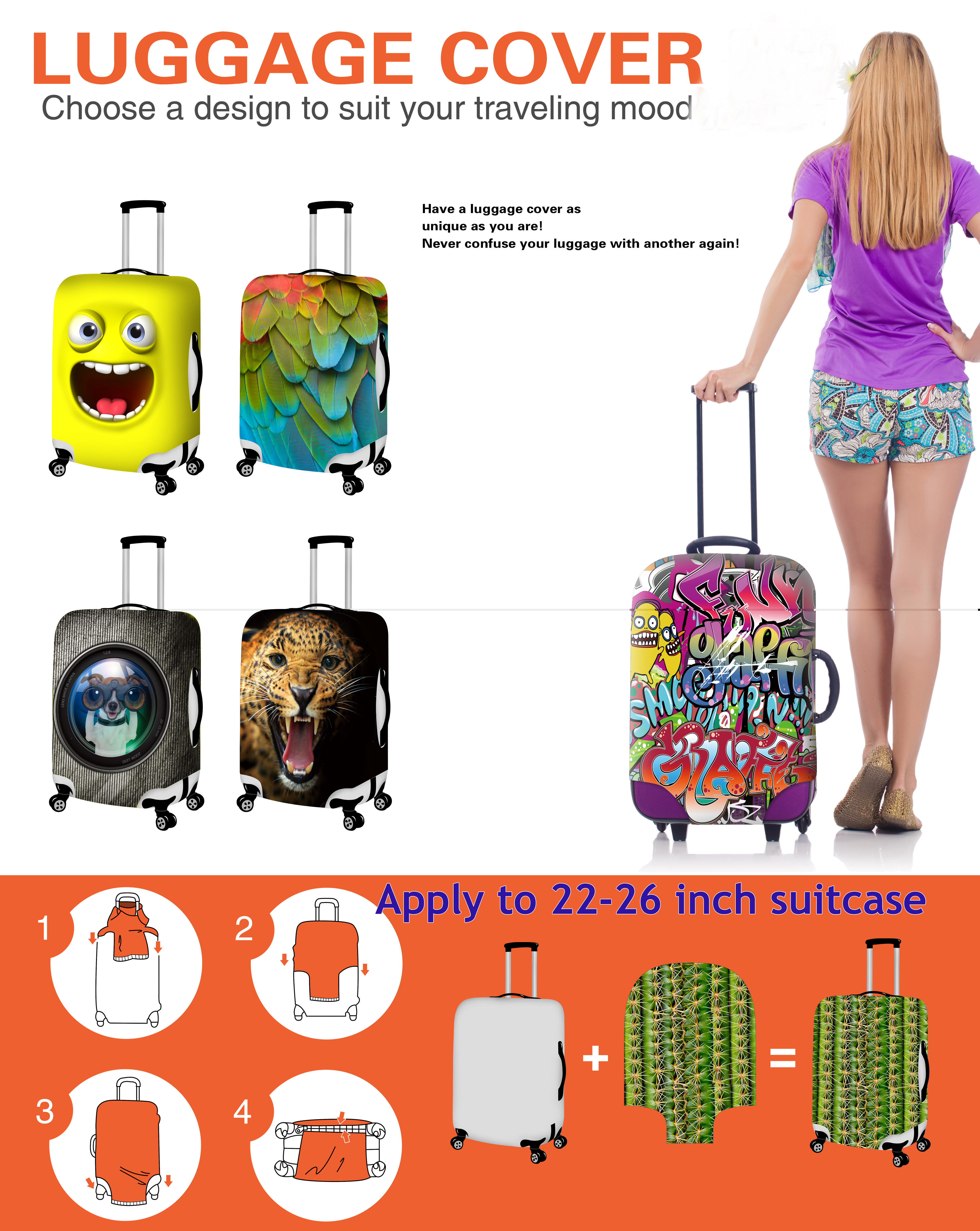 Thikin Billie Eilish Travel Luggage Cover for Girls Cartoon School Trunk Suitcase Protective Cover Travel Bag Protector Jacket in Travel Accessories from Luggage Bags