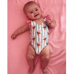 CANIS/детский кружевной лоскутный полосатый купальник купальный костюм с круглым вырезом для маленьких девочек купальный костюм бикини
