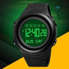 SKMEI japonia bateria cyfrowy zegarek dla człowieka LED Light podwójny czas sportowy zegarek z dużą tarczą wodoodporny pasek PU męski zegarek reloj 1674