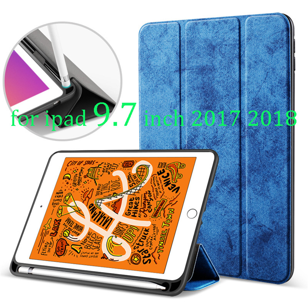 for ipad 9.7 inch 2017 2018 Cover 5th/6th Gen case with Pencil Holder TPU Silicone Shell Full Protect Cover Auto Sleep/Wake image