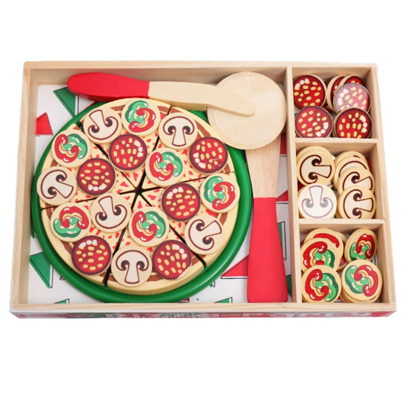 64 Pcs Pretend Play Wooden Pizza Toy For Kids, Pizza Play Food Set For Children Pizza Party Food Cooking And Cutting Wooden Play
