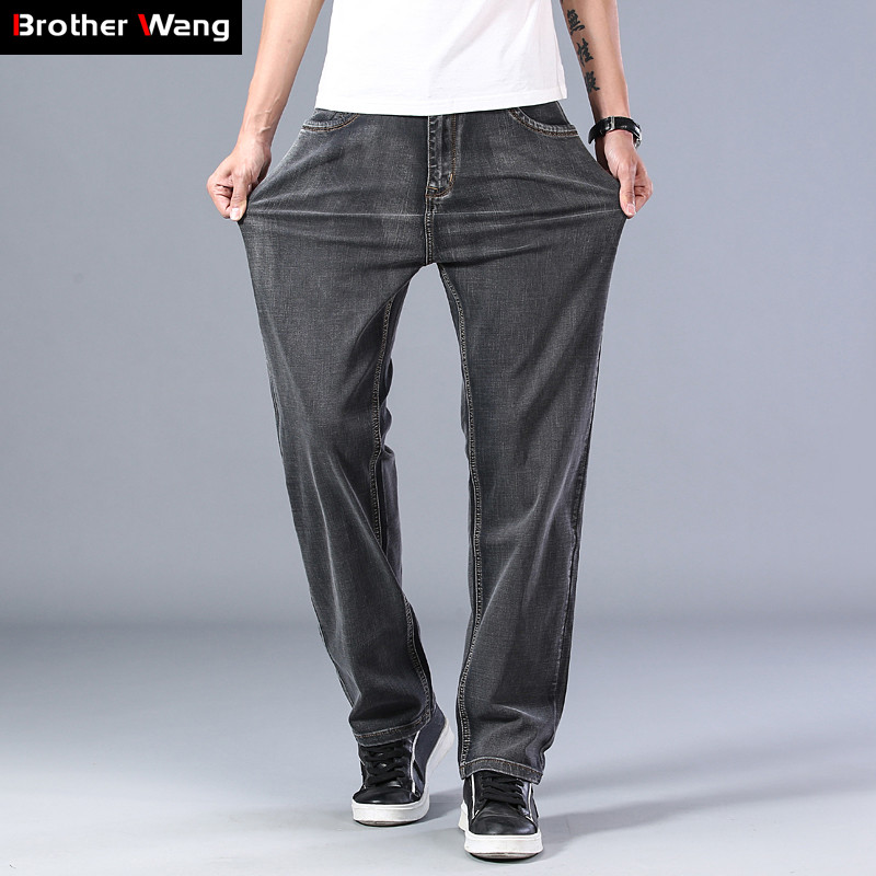 2020 Spring And Summer New Men's Gray Thin Jeans Advanced Stretch Loose Straight Denim Trousers Male Plus Size 40 42 44 Brand