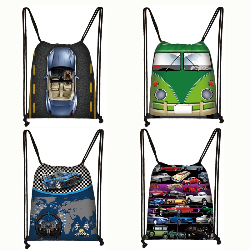 Cool Car / Van Print Drawstring Bag Women Men Travel Bags Teenager Fashion Backpack Ladies Storage Bags Kids Bookbag