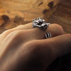 Image 4 - Prata pura esterlina 925 prata retro dragão abertura ajustável s925 anel (hy)