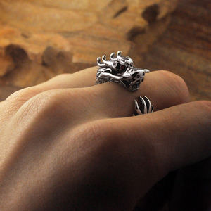 Image 4 - Pure Silver Sterling 925 Silver Retro Dragon Opening Adjustable S925 Ring (HY)