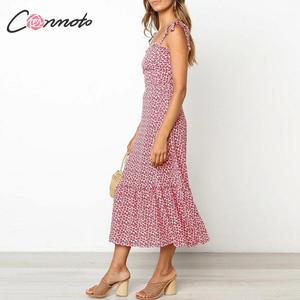 Image 3 - Conmoto 2019 Print Ruffles Mid Summer Dress Women Casual Twist Party Dress Strapless Print Beach Princess Long Dress Vestidos