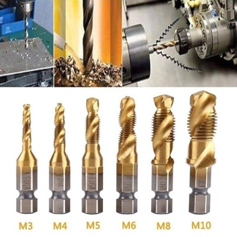 6 size M3-M10 Hss auger tap countersunk burr set Metric composite bit Hss high speed steel surface 1/4 quick replacement hexagon