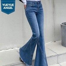 Fashion Light Blue Tassel Flare Jeans Women Spring High Waist Slim Vintage Denim Bell-Bottom Pants Office Lady Washed Trousers