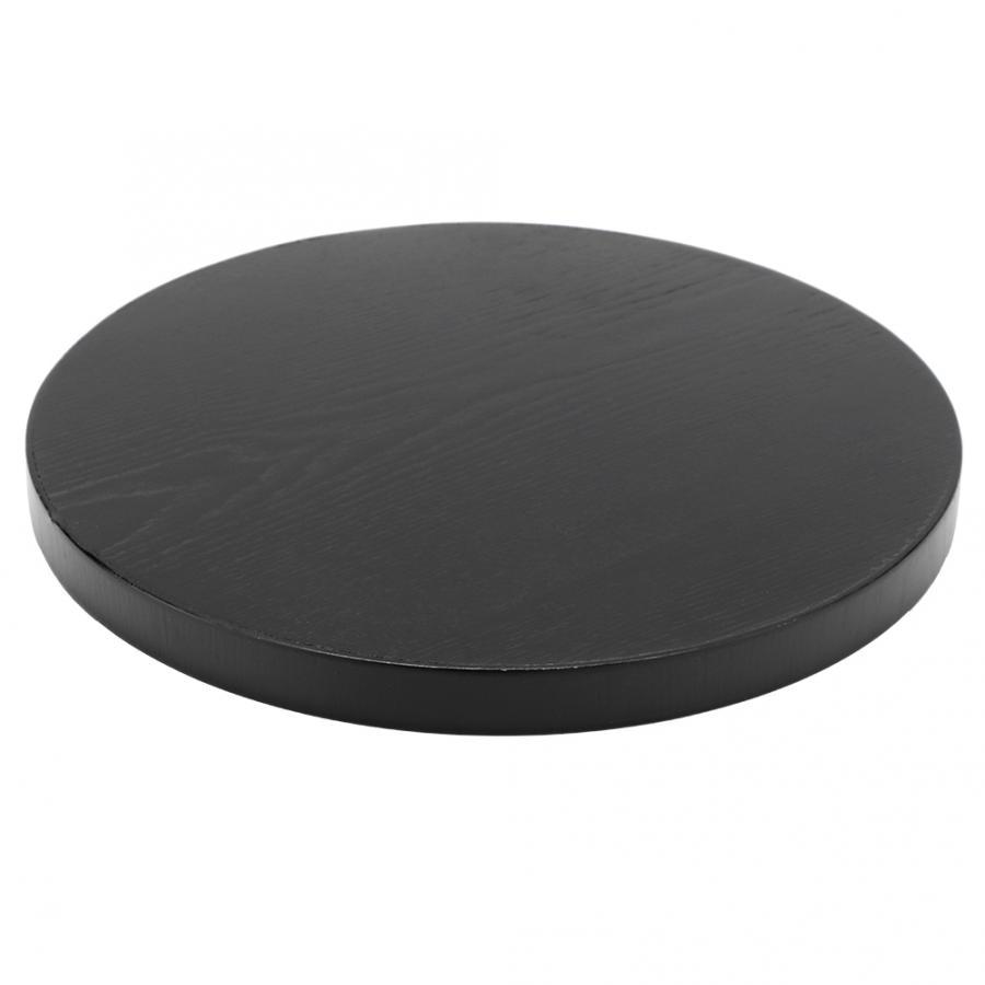 Деревянный круглый черный нескользящий поднос для чая, сервировочный столик для еды, поднос для китайского чая для дома, кухни, офиса-5