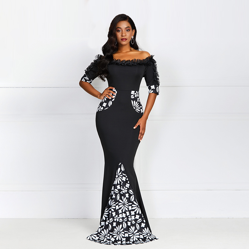 Women Bodycon Dresses Elegant Summer Black Off Shoulder Floral Print Mermaid Slim Sexy Robe Vintage Lace Party Evening Dress