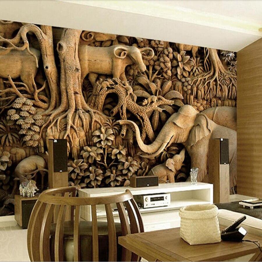 Milofi Custom 3D Wallpaper Mural Woodcarving Thai Sofa Wallpaper Thai Three-dimensional Relief Elephant Background Wall Paper