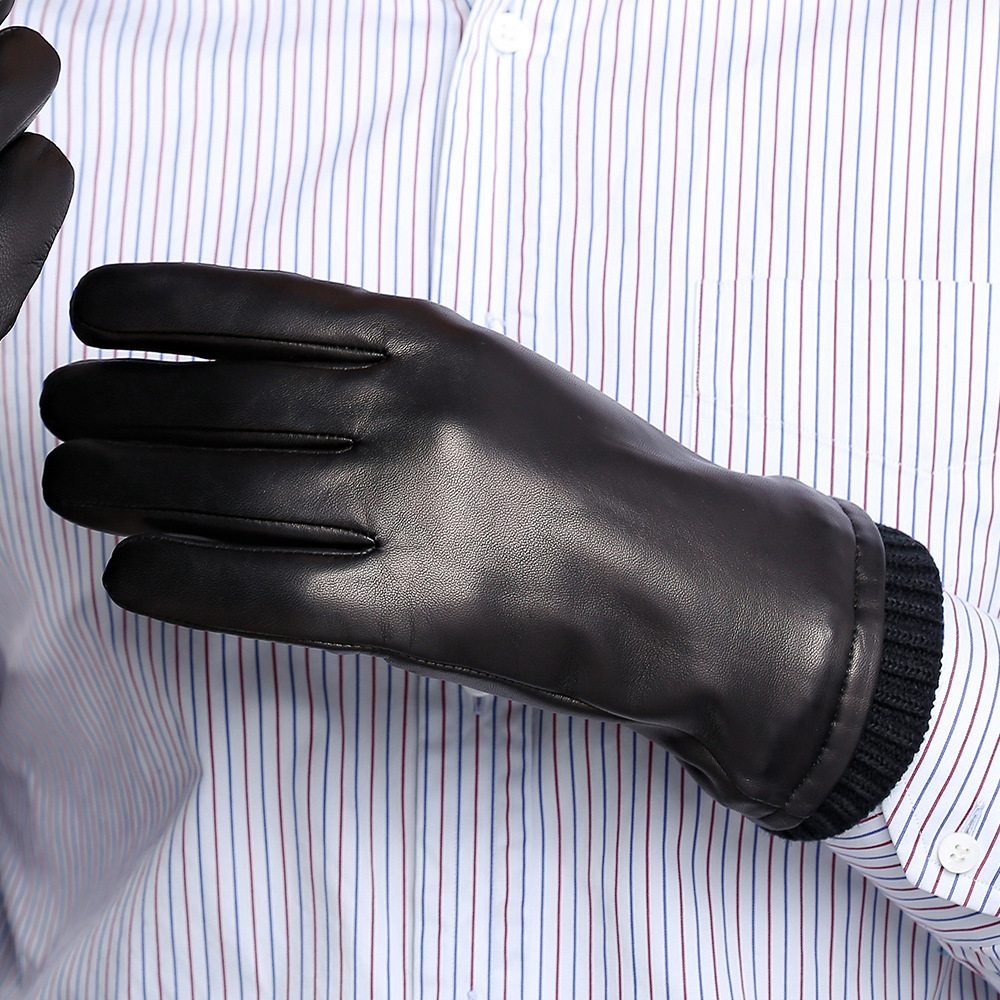 2020 Real Leather Gloves Male Autumn Winter Plus Velvet Thicken Classic Black Fashion Simple Sheepskin Man's Gloves DQ9108