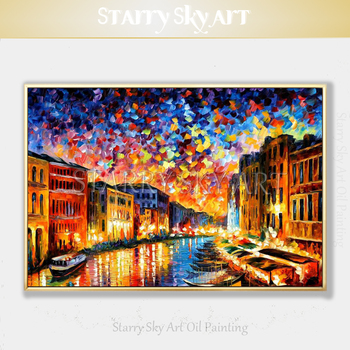 Excellent Artist Hand-painted Abstract Italy Venice Landscape Acrylic Painting Thick Textured Knife Painting Acrylic Canvas Art