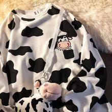 2021 nova vaca bordado fino hoodie solto moletom anime hoodies kawaii roupas moletom feminino impressão