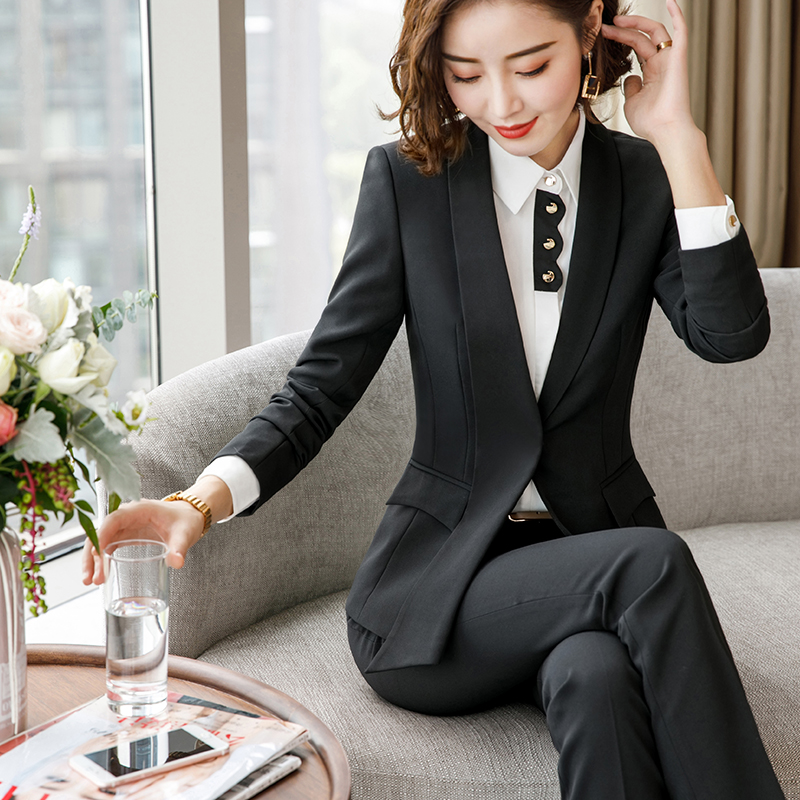 Lenshin Formal Asymmetrical Gray Pant Suit for Women Work Wear Office Lady Elegant Style Business Jacket with Pants Sets 19