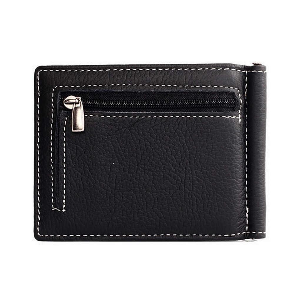 Name Gravur Geld Clip Mini Brieftaschen Aus Echtem Leder Männlichen Geldbörse Mini Vintage Schlanke Brieftaschen