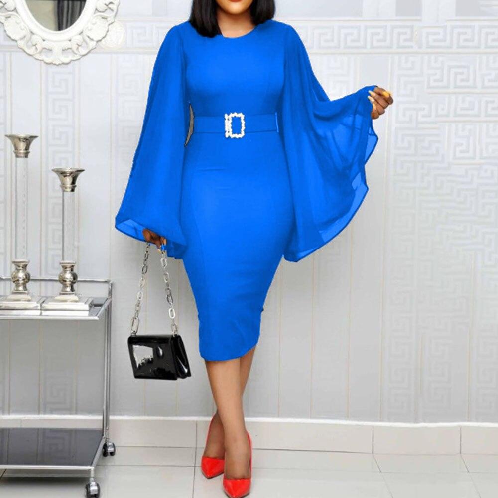 Blue Bodycon Elegant Office Midi Dresses Belted Cocktail Party Dress Women African Slim Long Sleeve Ladies robe de soiree
