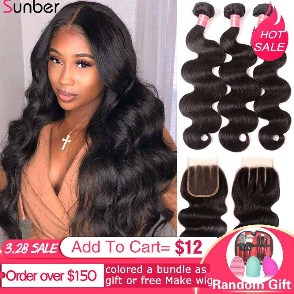 Sunber Hair Peruvian Body Wave Hair Bundles With Closure High Ratio Remy Hair 3/4 Bundles With Closure Double Machine Hair Weft