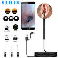 Médical dans l'oreille nettoyage Endoscope cuillère Mini caméra cueilleur d'oreille cire enlèvement visuel oreille bouche nez Otoscope Support Android PC