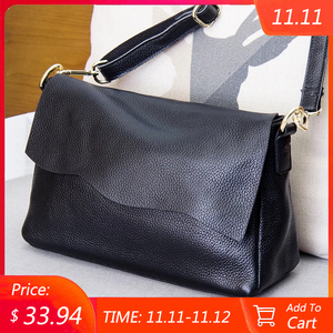 Image 1 - Genuine Leather Womens Shoulder Bags for Women Fashion Ladies CrossBody Bag Female Cow Leather Flap Handbags