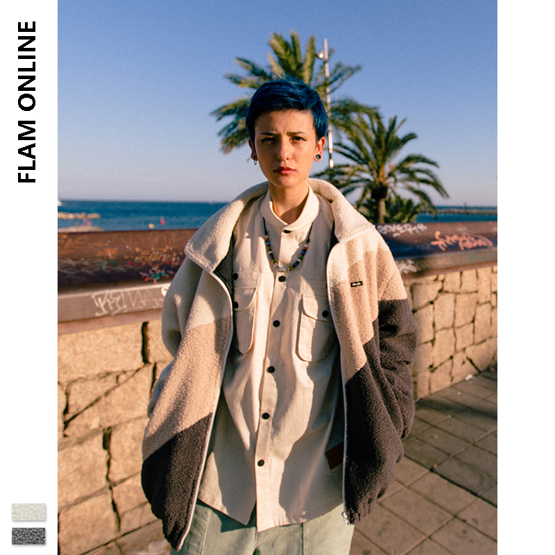 FLAM ONLINE 2019 Winter Warm Coat Hip Hop Polar Fleece Oversize Polar Fleece Jacket Men Jacket Vintage Polar Fleece Men Jacket