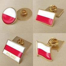 Brasão de armas da polónia mapa polonês bandeira nacional emblema flor nacional broche emblemas lapela pinos