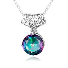 Szjinao Rainbow Mystic Topaz Pendant Necklace 925 Sterling Silver Gemstones Choker Statement Necklace Women Without Chain Genuin