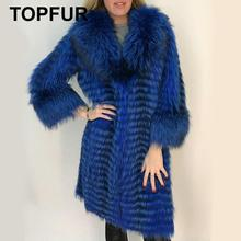 TOPFUR Luxurious Customize Plus Size Solid Silver Fox Fur Coat With Fur Collar Casual Women Real Fox Fur Jacket Down Winter Fur retro nobility shawl jacket fox fur collar sheepskin fur luxurious women s fur coat sheepskin coat fur coats real leather coat
