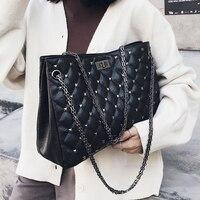 Large Capacity Women's Bag 2018 Rivet Shoulder Bags Big Totes Bag Female Chain Strap Totes Diamond Lattice Handbag Luis Vuiton
