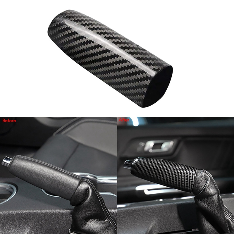 Car ABS Carbon Fiber Handbrake Cover Grip Handle Lever Brake Handle Cover for Ford Mustang 2015-2021